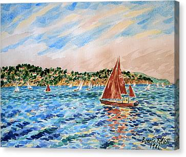 Sailboat On The Bay Canvas Print