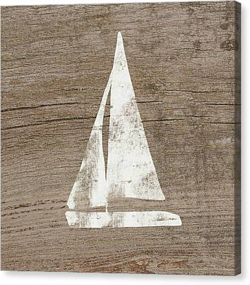 Sailboat On Wood- Art By Linda Woods Canvas Print by Linda Woods