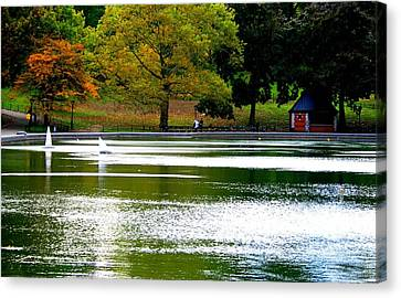 Sailboat Pond At Central Park Canvas Print by Christopher Kirby
