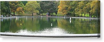 Sailboat Pond Panorama Canvas Print by Christopher Kirby