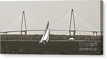 Sailboat Sailing Cooper River Bridge Charleston Sc Canvas Print by Dustin K Ryan