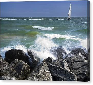 Sailboat Sailing Off The Shore At Ottawa Beach State Park Canvas Print