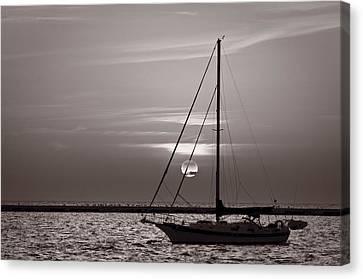 Sailboat Sunrise In B And W Canvas Print by Steve Gadomski