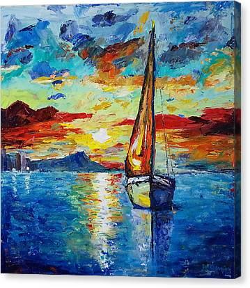 Diamond Head Canvas Print - Sailboat Sunrise by Joanne Gerrior