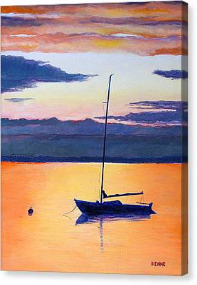 Sailboat Sunset Canvas Print by Robert Henne