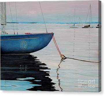 Sailboat Tied Canvas Print by Marilyn  McNish