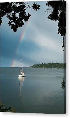Sailboat Under The Rainbow Canvas Print