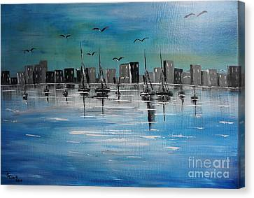 Sailboats And Cityscape Canvas Print