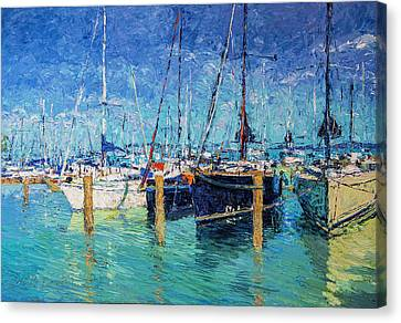 Sailboats At Balatonfured Canvas Print