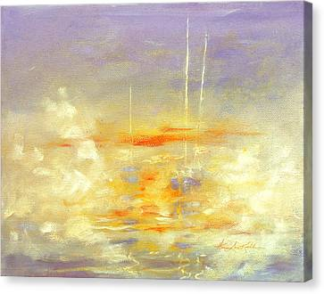 Sailboats At Dawn Canvas Print by Hanne Lore Koehler
