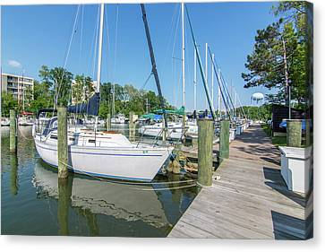 Canvas Print featuring the photograph Sailboats At Dock by Charles Kraus