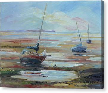 Sailboats At Low Tide Near Nelson, New Zealand Canvas Print by Barbara Pommerenke