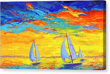 Sailboats At Sunset, Colorful Landscape, Impressionistic Art Canvas Print by Patricia Awapara