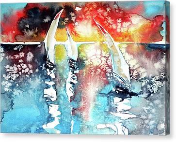 Sailboats At The Sunshine Canvas Print by Kovacs Anna Brigitta
