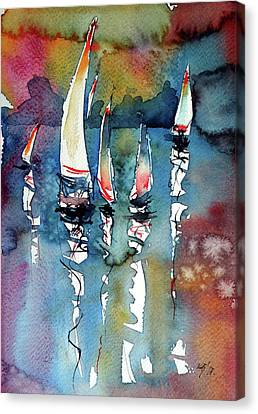 Canvas Print featuring the painting Sailboats II by Kovacs Anna Brigitta