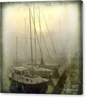 Sailboats In Honfleur. Normandy. France Canvas Print by Bernard Jaubert