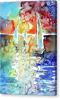 Sailboats In Light Canvas Print by Kovacs Anna Brigitta