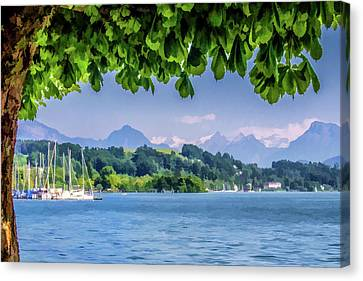 Sailboats In Lucerne Canvas Print by Lisa Lemmons-Powers