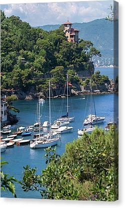Sailboats In Portofino Canvas Print by Al Hurley