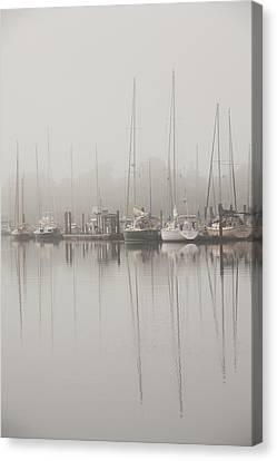 Sailboats In Stillness Canvas Print by Karol Livote