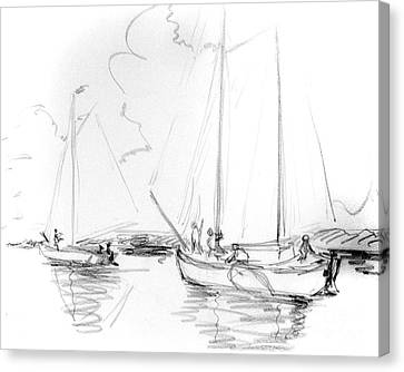 Sailboats On Sneek Lake Canvas Print by Dorothy Hilde