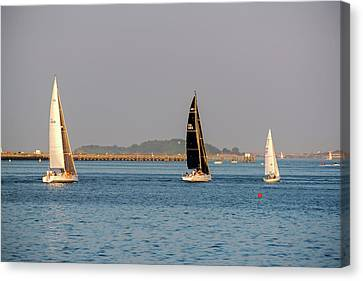 Sailboats On The Boston Harbor Boston Harbor Islands Canvas Print by Toby McGuire