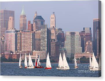 Sailboats On The Hudson II Canvas Print by Clarence Holmes