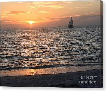 Sailboats, Sunsets, And Sand Canvas Print