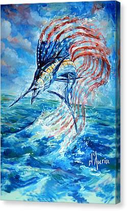 Sailfish Americana Canvas Print by Tom Dauria