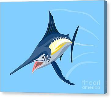 Sailfish Diving Canvas Print by Aloysius Patrimonio
