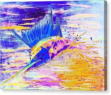 Sailfish Saltwater Fishing Abstract Canvas Print by Scott D Van Osdol
