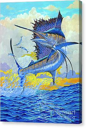 Saltwater Fishing Canvas Print - Sailfish Sunset by Carey Chen