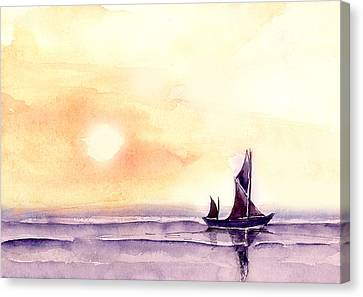 Canvas Print featuring the painting Sailing by Anil Nene