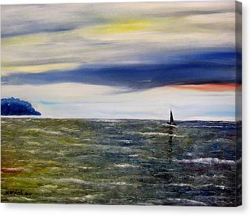 Sailing At Dusk Canvas Print by Marilyn  McNish