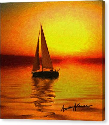 Sailing At Sunset Canvas Print by Anthony Caruso