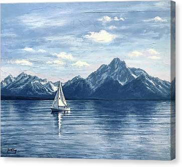 Sailing At The Grand Tetons Canvas Print