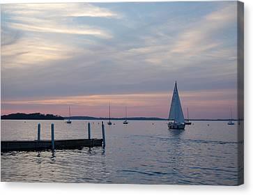 Sailing At The Uw - Madison Canvas Print by Lisa Patti Konkol