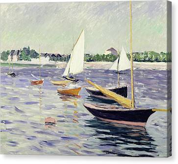 Sailing Boats At Argenteuil Canvas Print by Gustave Caillebotte