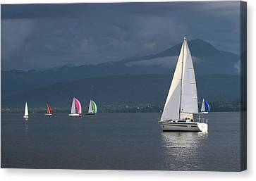 Sailing Boats By Stormy Weather, Geneva Lake, Switzerland Canvas Print