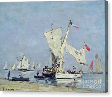 Sailing Boats Canvas Print by Eugene Louis Boudin