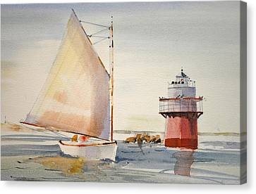 Sailing By Buglight  Canvas Print by P Anthony Visco