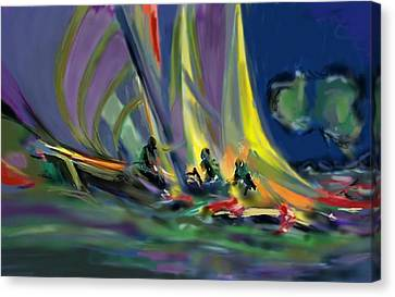 Canvas Print featuring the digital art Sailing by Darren Cannell