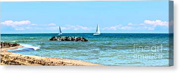 Sailing Days On Lake Erie Panorama Canvas Print by Randy Steele