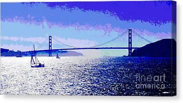Sausalito Canvas Print - Sailing Golden Gate Bridge by Jerome Stumphauzer
