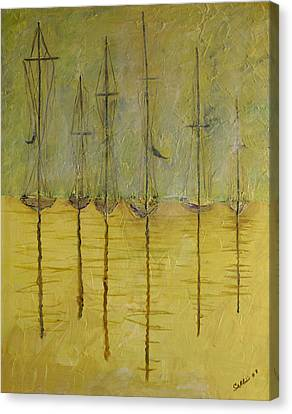 Canvas Print featuring the painting Sailing In The Calm by Dolores  Deal