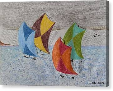 Sailing In The Caribbean Rain Canvas Print by Margaret Brooks
