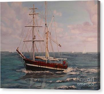 Canvas Print featuring the painting Sailing In The Caribean by Terri Thompson
