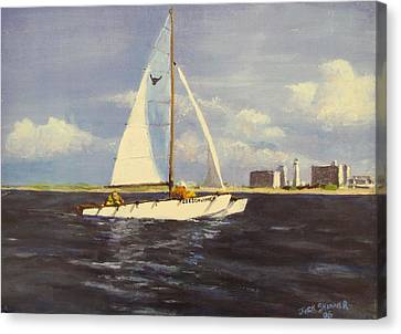 Canvas Print featuring the painting Sailing In The Netherlands by Jack Skinner
