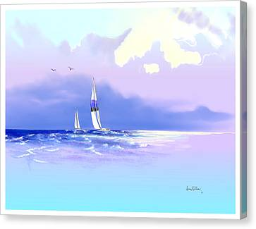 Canvas Print featuring the painting Sailing Into The Blue by Sena Wilson