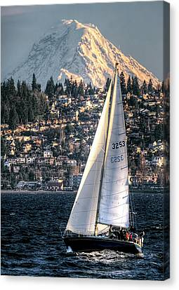 Sailing On Elliot Bay, Seattle, Wa Canvas Print by Greg Sigrist